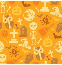Seamless pattern with halloween objects vector image vector image