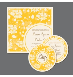 yellow wedding invitation cards set with flowers vector image vector image