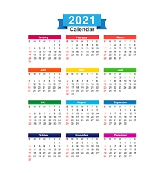 2021 Year calendar isolated on white background vector