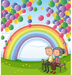 An old couple below the floating balloons and the vector