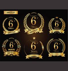 Anniversary golden laurel wreath 6 years vector