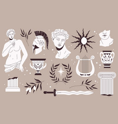 antique sculptures traditional greek style vector image