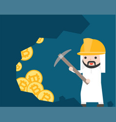 arab businessman use pickaxe for find bitcoin vector image