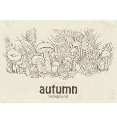 Autumn mushrooms grass and vector