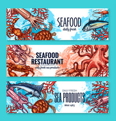 Banners sketch seafood fish for restaurant vector