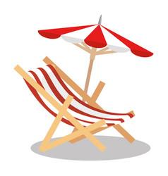 Beach chair with umbrella vector