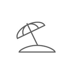 Beach umbrella line icon vector
