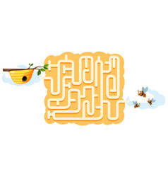 bee find beehive maze game vector image