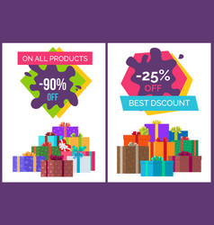 Best discount on all products promotional posters vector