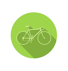 Bike icon on green round background vector