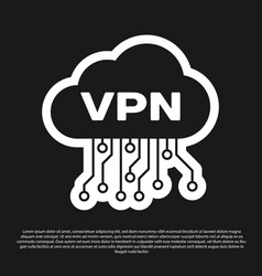 Black cloud vpn interface icon isolated on black vector