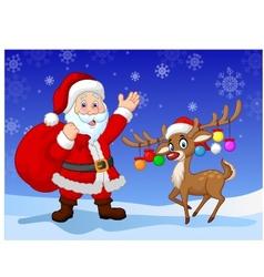 Cartoon Santa clause with deer vector image