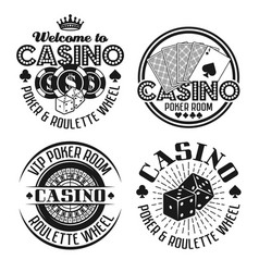 Casino and gambling four black emblems vector