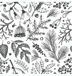 Christmas seamless pattern hand drawn winter vector