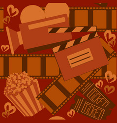 cinema and movieorange seamless pattern for web vector image