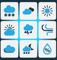 Climate colored icons set collection of sunny vector