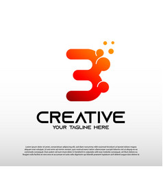 Creative logo with initial number three 3 vector