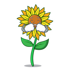 crying sunflower mascot cartoon style vector image