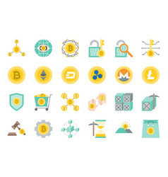 cryptocurrency related icon set flat design vector image