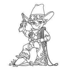Cute boy with a gun holds the lasso outlined vector