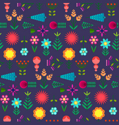 cute pattern with flat simple color flowers vector image