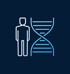 dna with human colored linear icon or logo vector image