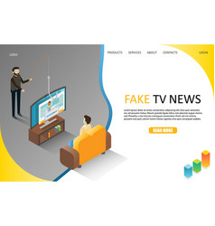 Fake tv news landing page website template vector