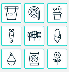 Farm icons set with pail maize fertilizer and vector