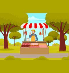 farmer street market or fair shopping counter vector image