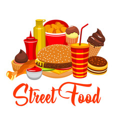 Fast food snacks street food burgers vector