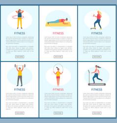 Fitness activities people in gym website set vector