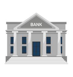Flat bank building facade with columns on white vector
