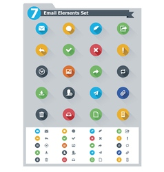 Flat email icon set vector