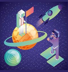 gamer using virtual reality glasses astronaut flag vector image