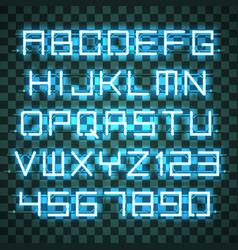 Glowing azure neon alphabet vector