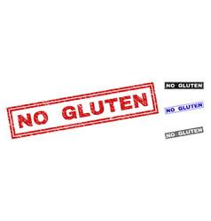 Grunge no gluten scratched rectangle stamp seals vector