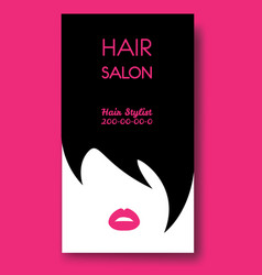 Hair salon business card templates with black hair vector
