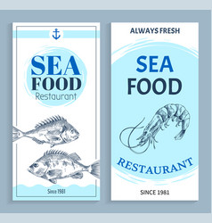 hand drawn seafood restaurant banner set vector image