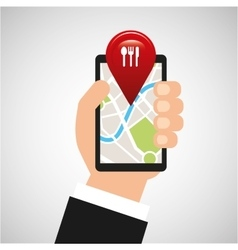 Hand holds phone navigation app restaurant vector
