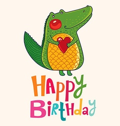 Happy birthday crocodile design vector image