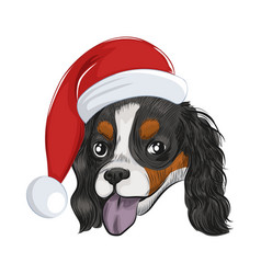 Happy santa dog panting isolated on white vector