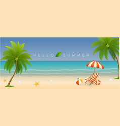 hello summer holiday beach vacation banner vector image