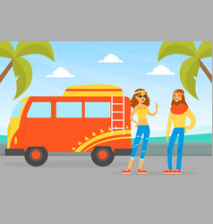 hippie characters young man and woman standing vector image