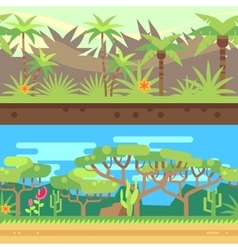 Horizontal seamless tropical forest jungle vector image