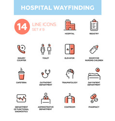 Hospital wayfinding - modern simple thin line vector