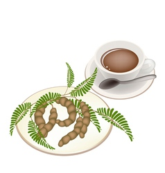 Hot Coffee with Tamarind Pod and Leaves vector image