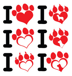 i love paw print logo design 01 collection vector image