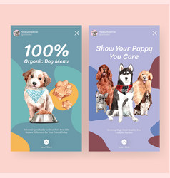 instagram template with dogs design for social vector image