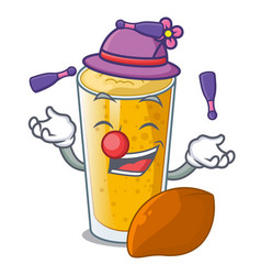 Juggling lassi mango in the character fridge vector