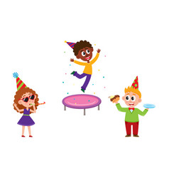 Kids jump blow whistle eat birthday cake vector